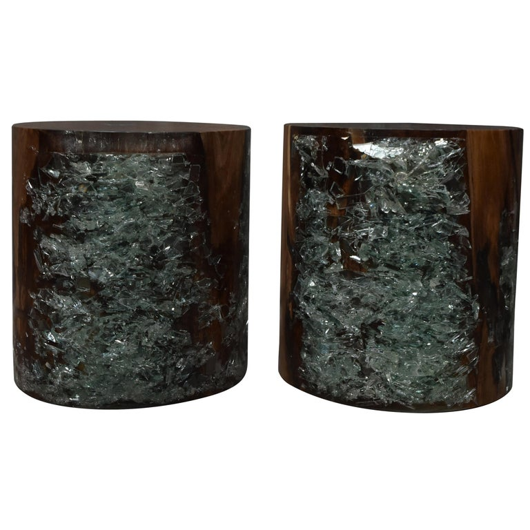 Pair of Cracked Resin and Wood Side Tables For Sale