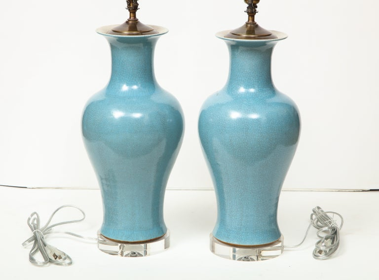 Pair of Crackle Glazed Blue Vase Lamps For Sale 4