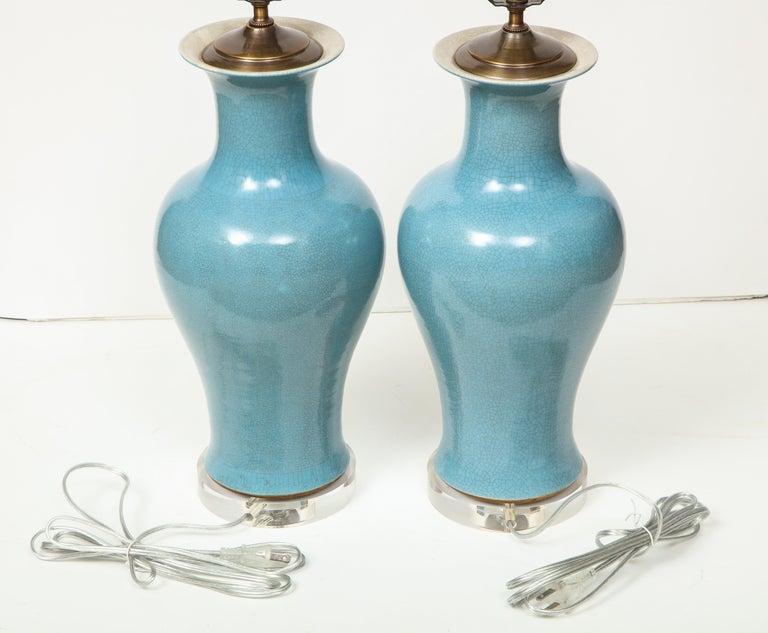 Pair of Crackle Glazed Blue Vase Lamps For Sale 5
