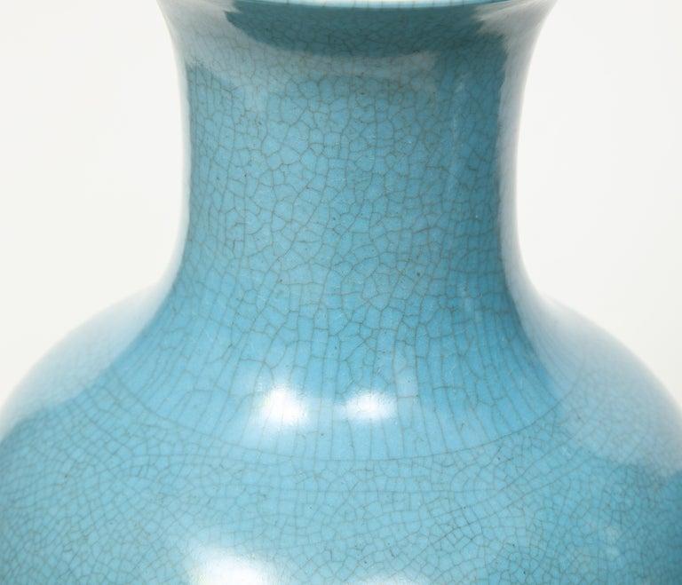 Pair of Crackle Glazed Blue Vase Lamps For Sale 6