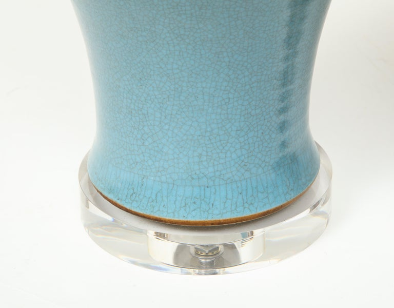 Pair of Crackle Glazed Blue Vase Lamps In Excellent Condition For Sale In New York, NY