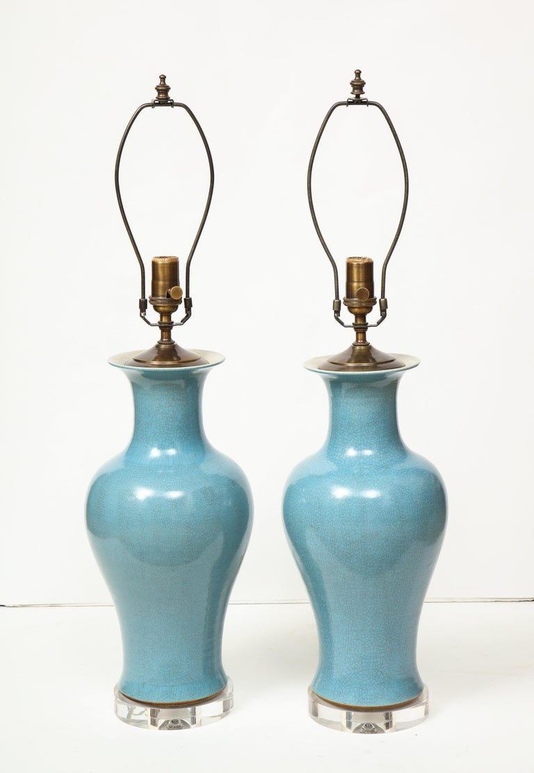 20th Century Pair of Crackle Glazed Blue Vase Lamps For Sale