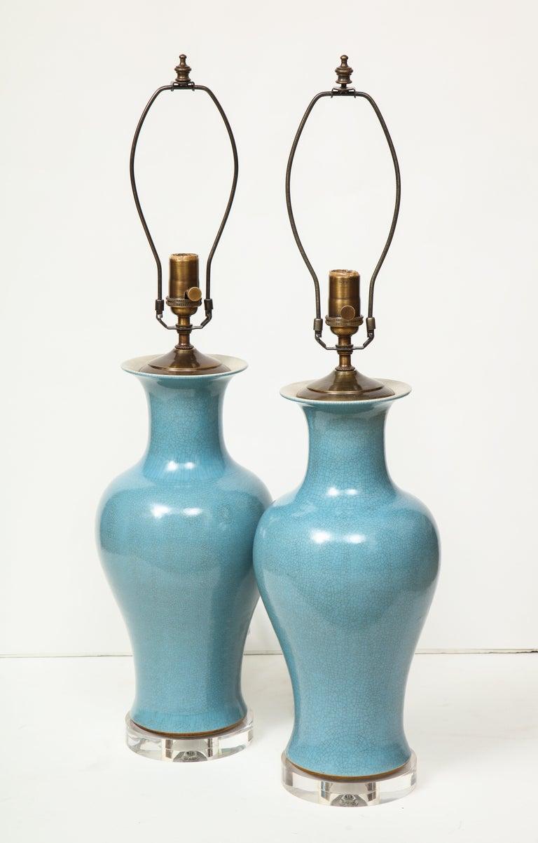 Pair of Crackle Glazed Blue Vase Lamps For Sale 1
