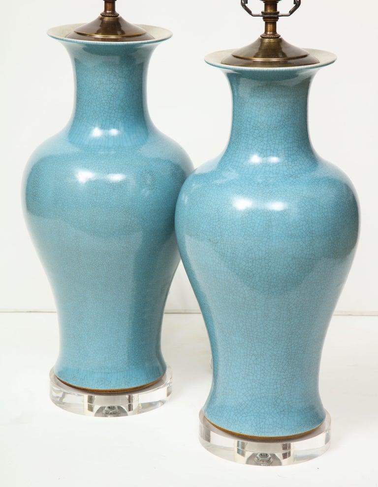 Pair of Crackle Glazed Blue Vase Lamps For Sale 2