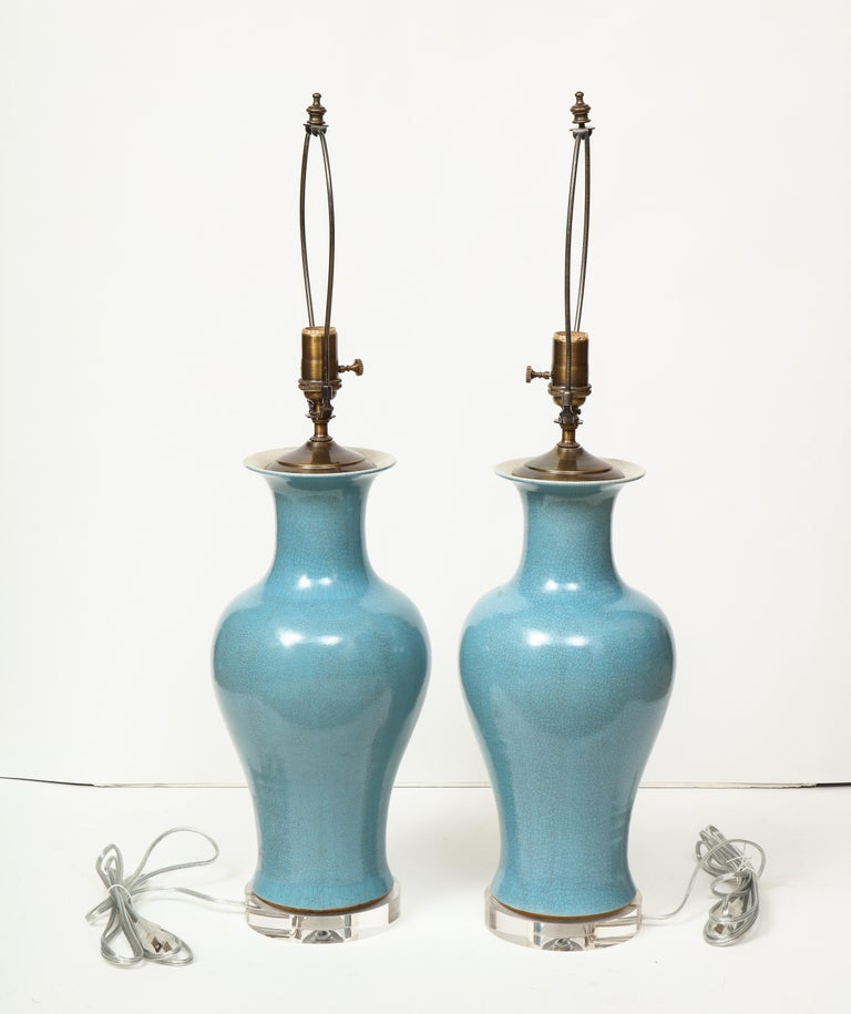 Pair of Crackle Glazed Blue Vase Lamps For Sale 3