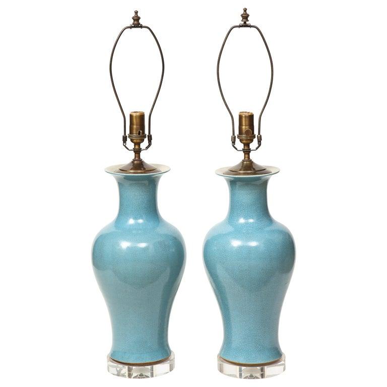 Pair of Crackle Glazed Blue Vase Lamps For Sale