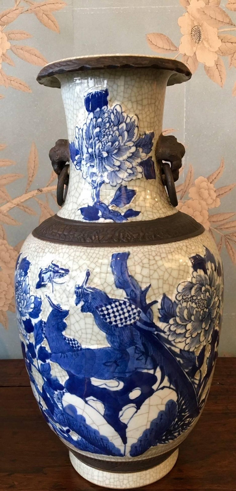 Chinese Pair of Crackleware Vases For Sale
