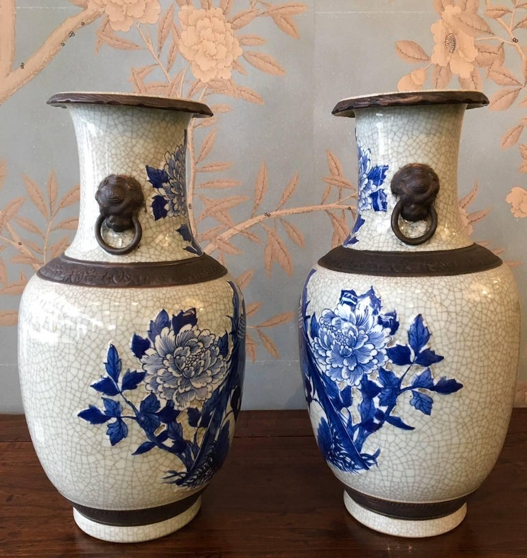 Hand-Painted Pair of Crackleware Vases For Sale