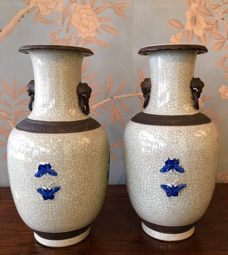 Pair of Crackleware Vases In Good Condition For Sale In New York, NY