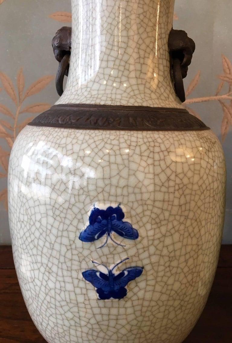 20th Century Pair of Crackleware Vases For Sale