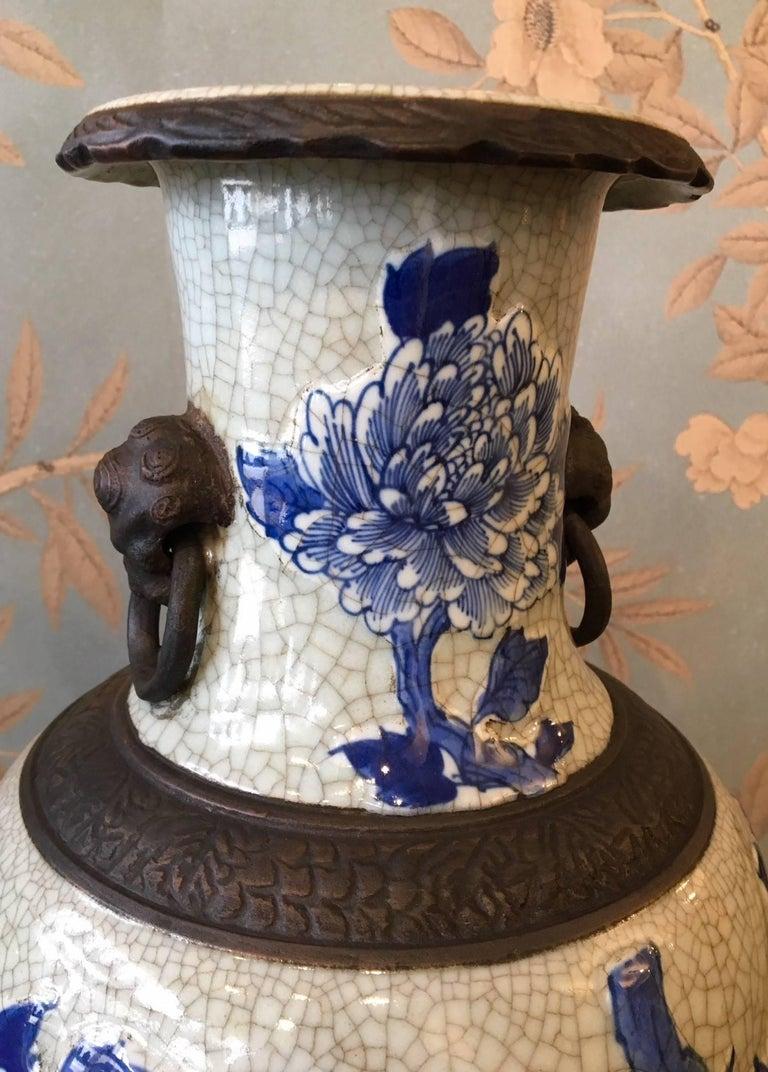 Porcelain Pair of Crackleware Vases For Sale