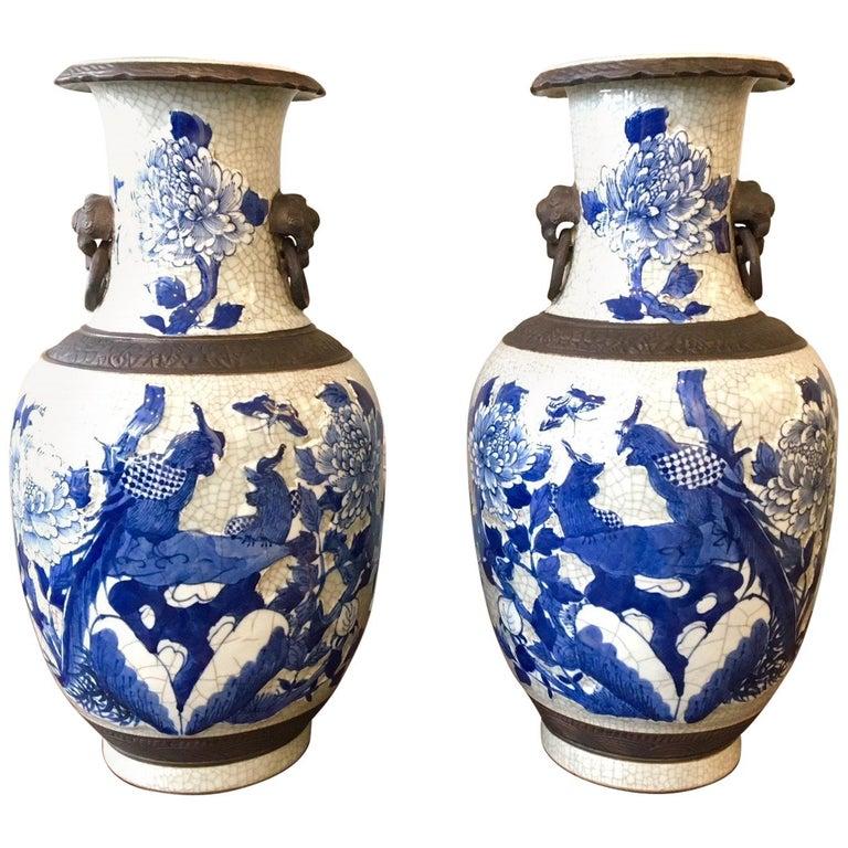 Pair of Crackleware Vases For Sale