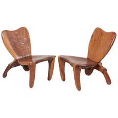 Pair of Craft Wooden Studio Lounge Chairs by Don Shoemaker, Mexico, 1960s
