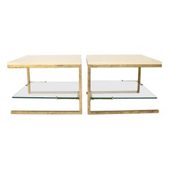 Maison Ramsay Side Tables Pair of Cream Lacquered Top Gilded Iron Frame Work