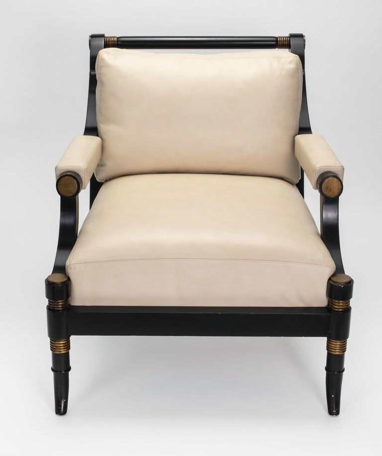 Pair of Cream Leather Lounge Armchairs For Sale at 1stdibs