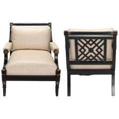 Pair of Cream Leather Lounge Armchairs