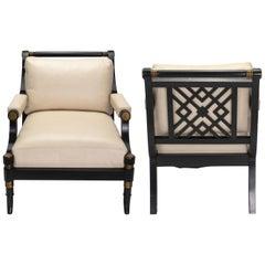 Pair of Klismo Style schwarze Ebonized Leder Sessel