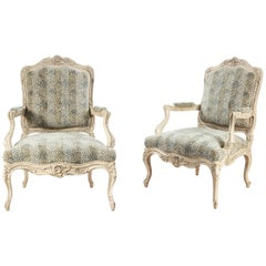 Pair of Cream Louis XV Style Carved Open Armchairs with Leopard Upholstery