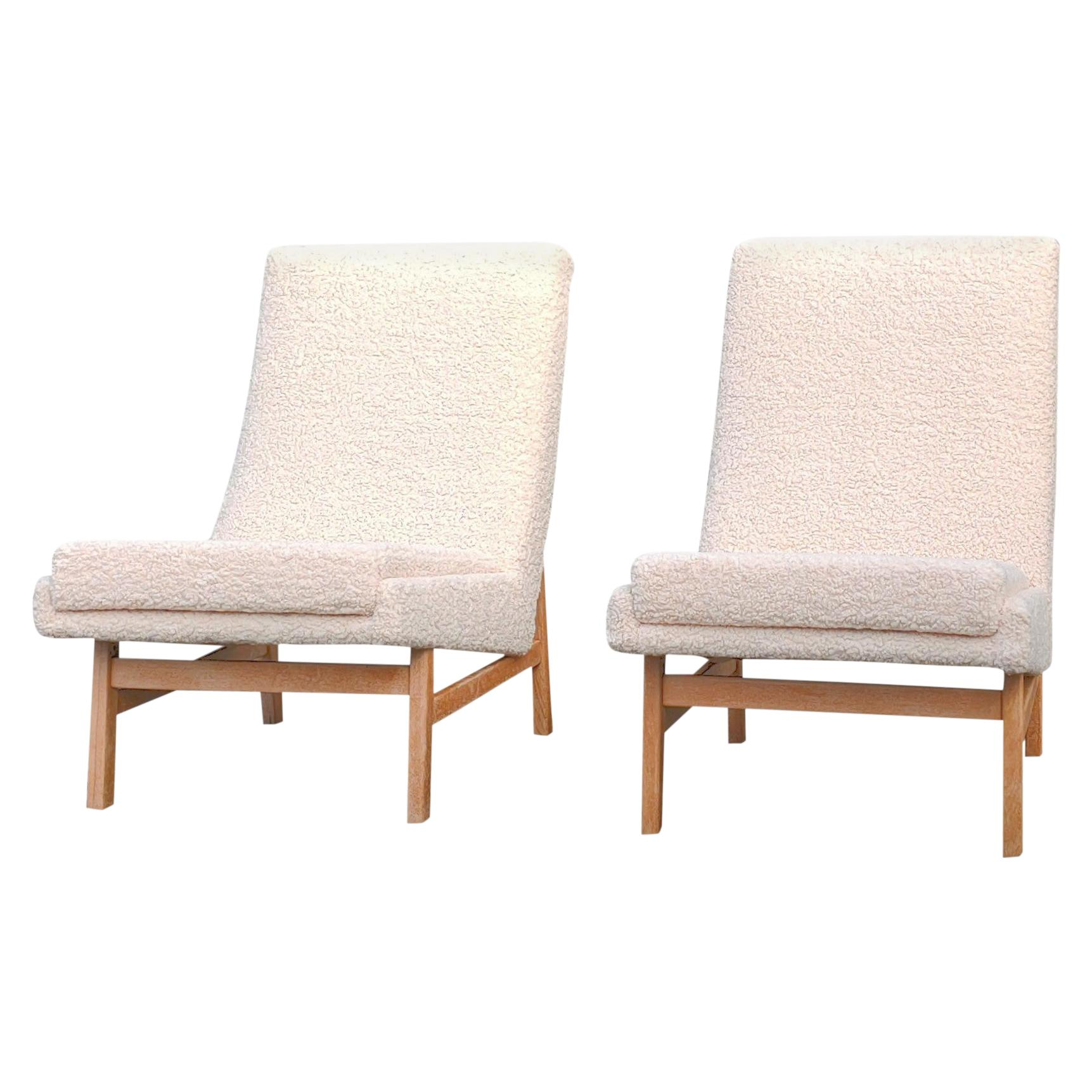 Pair of Cream White Chairs by Guariche, Mortier & Motte for ARP, France, 1955
