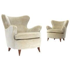 Pair of Cream White Velvet Italian Armchairs, 1940s