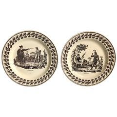 Pair of Creil Et Montereau Plates, Fairy Tales