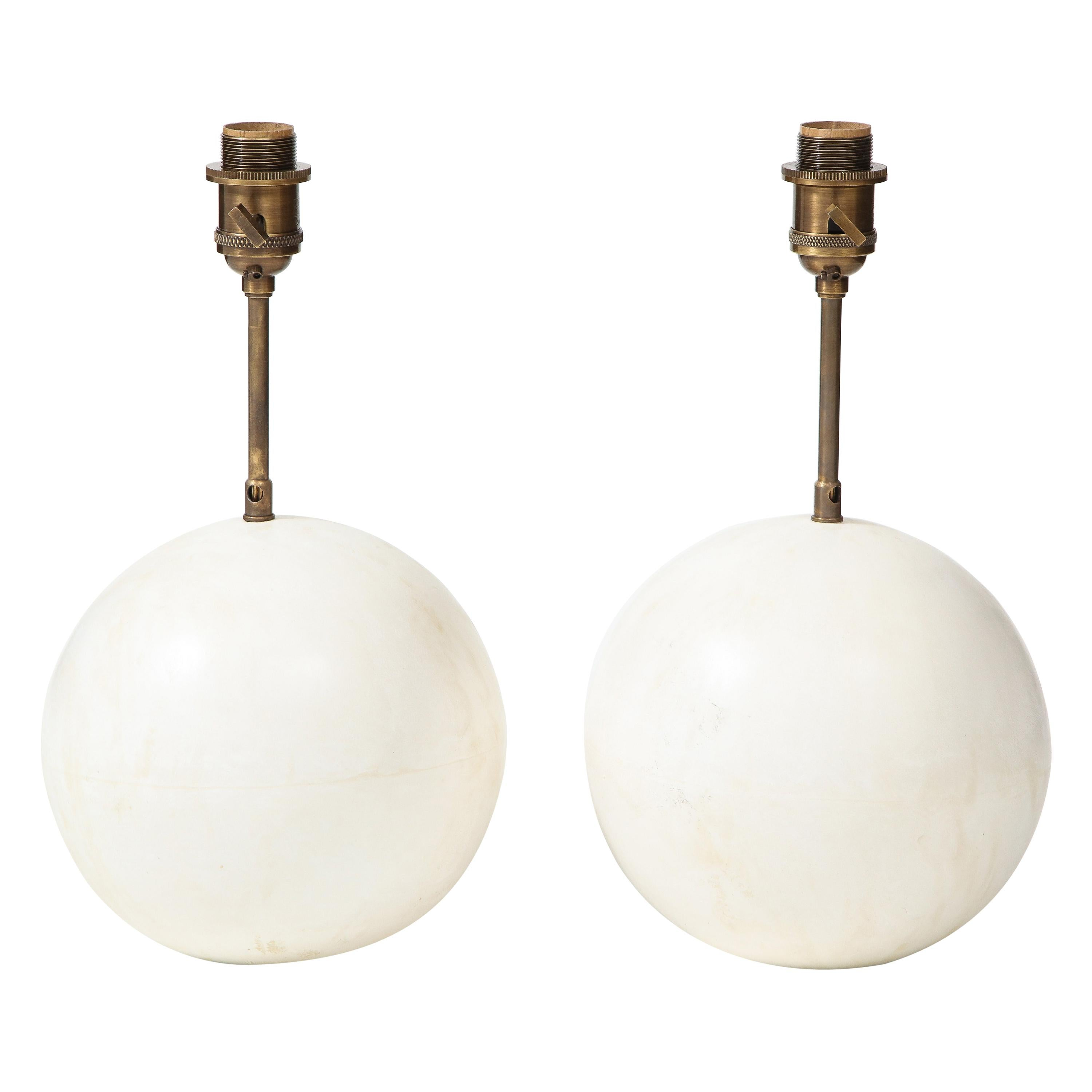 Pair of Creme White Plaster Table Lamps by Facto Atelier Paris, France, 2020