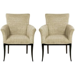 Pair of Crepe Wool Clad Saber Leg Lounge Chairs after Tommi Parzinger