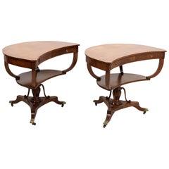 Pair of Crescent Mahogany Tables