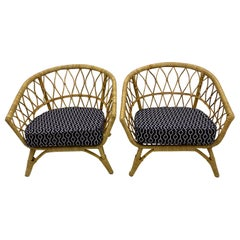 Pair of Bamboo and Rattan Club Chairs