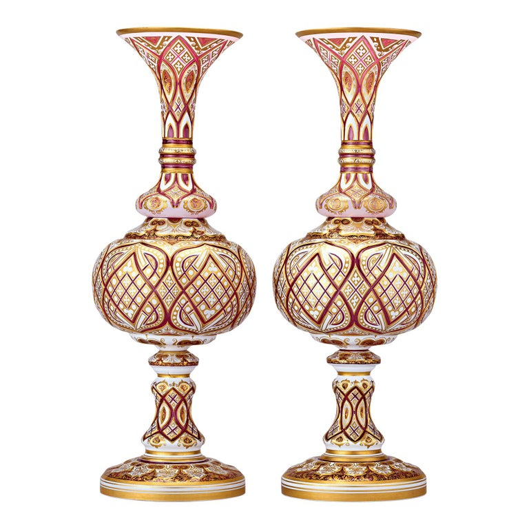 Pair of Crimson and Gold Bohemian Art Glass Vases For Sale