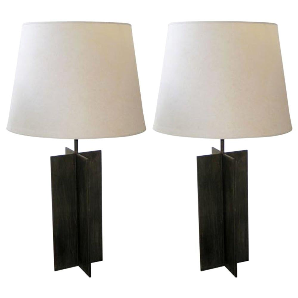 Pair of Cross Form Table Lamps in the Manner of Jacques Quinet