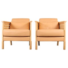 Pair of Cross Grain Leather and wood Lounge Chairs Made in Sweden, 20th Century