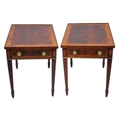 Pair of Crotch Flame Mahogany Sheraton Federal Style Hekman End Tables