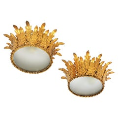 Pair of Crown Foliage Ceiling Light Fixtures in Gilt Iron and Frosted Glass