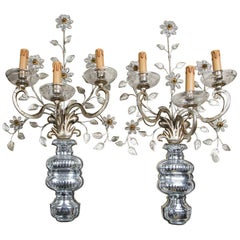 Pair of Crystal 3 Arm Wall Sconces