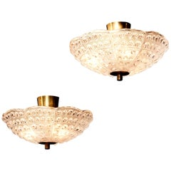 Pair of Crystal and Brass Ceiling Lights by Carl Fagerlund for Orrefors, 1960s