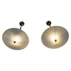 Pair of Crystal and brass Flushmount chandeliers, Austria, 1960s