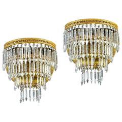 Pair of Crystal and Brass Scones or Wall Lights Italy, 1940