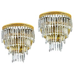 Pair of Crystal and Brass Scones or Wall Lights, Italy, 1940