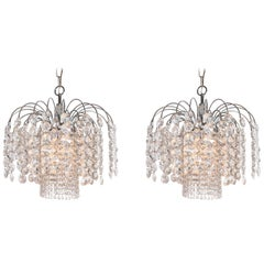 Pair of Crystal and Chrome Chandelier, Attributed to Swarovski, Austria