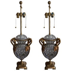 Pair of Crystal and Gold Washed over Brass Lamps, 20th Century