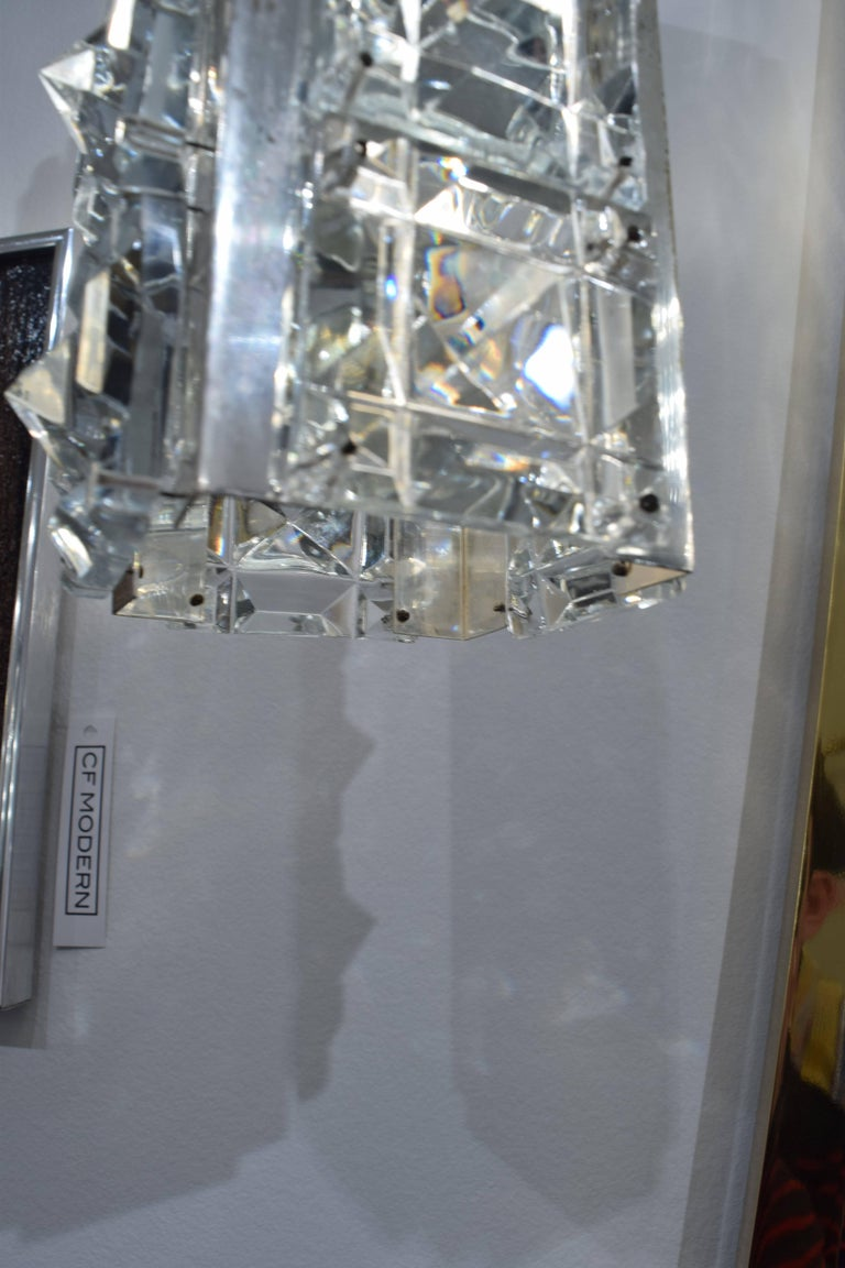 Faceted Pair of Crystal and Silver Austrian Pendents For Sale