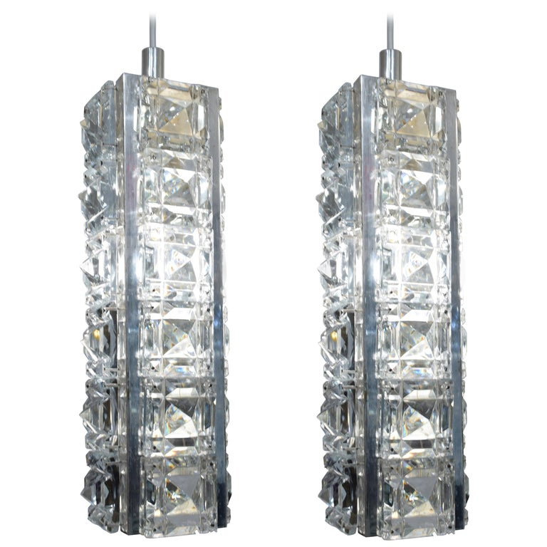Pair of Crystal and Silver Austrian Pendents For Sale