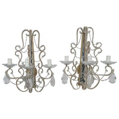 Pair of Crystal Beaded 3-Light Mirrored Sconces