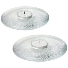 Pair of Crystal Candleholders by Iitalla, Finland