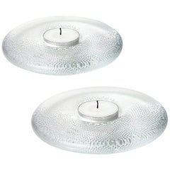Pair of Crystal Candleholders by Iittala, Finland