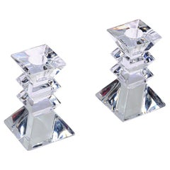 Pair of Crystal Candlesticks or Candleholders, Pyramid Base, Stacked Glass