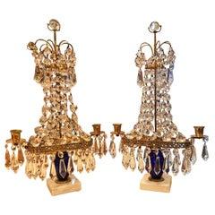 Pair Crystal Cut Glass Light Candleholder Antique Girandoles Swedish LA Dealer