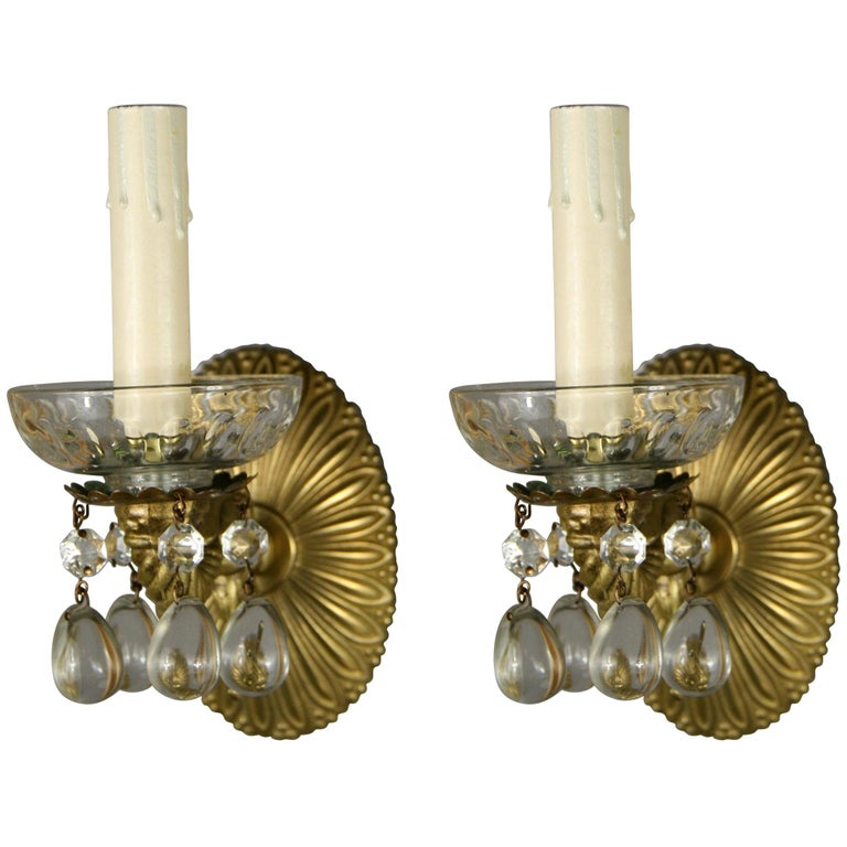 Pair of Crystal Drops Sconce For Sale