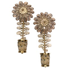 Pair of French Amethyst Crystal Flower Sconces